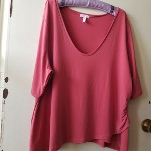 NWOT Pink Round Neck T-Shirt with Side Gather